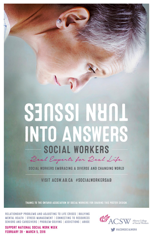 It's National Social Work Week. Spread the word. Share one of our posters. #SocialWorkersAB